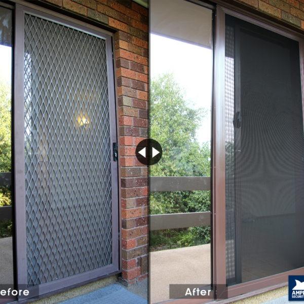 SupaScreen - Sliding door screen Before and After Supascreen installation