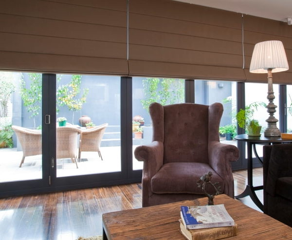 Roman Blinds - living room with roman blinds