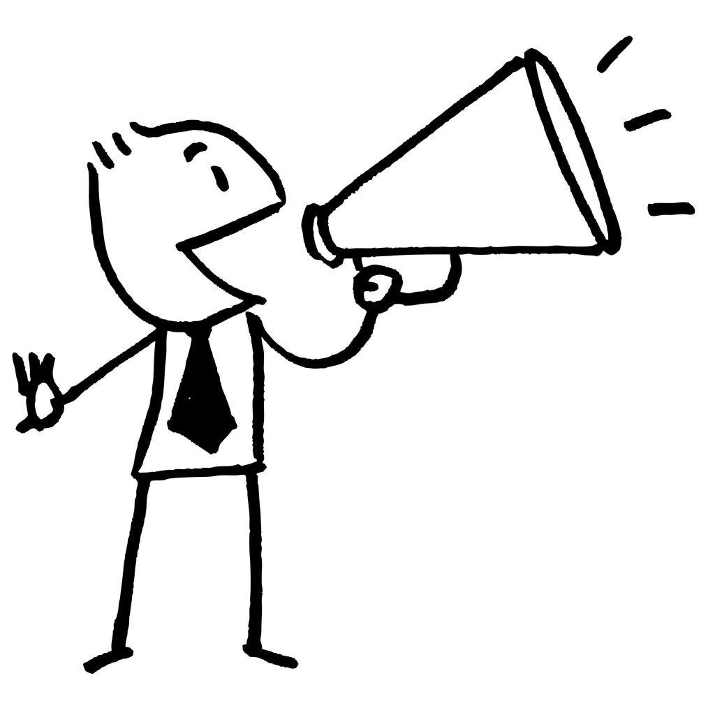 Cartoon image of person providing feedback