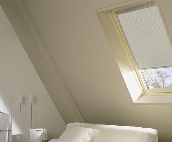 Skylight Shades - Skylight shade installed on bedroom skylight